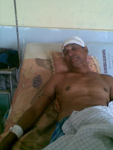 Wounded Mr. Fariz Uddin Barbhuiya at the Silchar Medical College and Hospital, Silchar