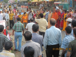 A still from the street play of CHORUS presented before the peoples' march against corruption in Silchar, Assam on 1 May 2001 (image-2)
