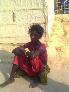 Lakhi Sabor, wife of Giridhari Sabor of Boali area in the garden. She is very weak and has low appetite and low vision.