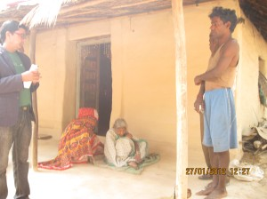Belbati Bauri sitting at veranda of her house made of mud (second from left)