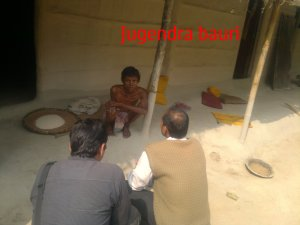 Jugendra Bauri  talking to BHRPC members on 9 February 2012. He died on 22 February.