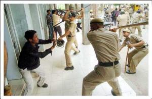 Wrath of police: Photo courtesy merinews.com