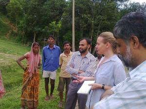 Trying to understand the anachronistic slavery like labour system and working conditions of labourers in tea industry in Assam that drive them to starvation deaths. In Bhuvan valley tea estate on 19 August 2013 Waliullah Ahmed Laskar, Amanda Hodge and Dr Prasenjit Biswas. — at Bhuvan valley Tea Estate, Cachar, Assam.