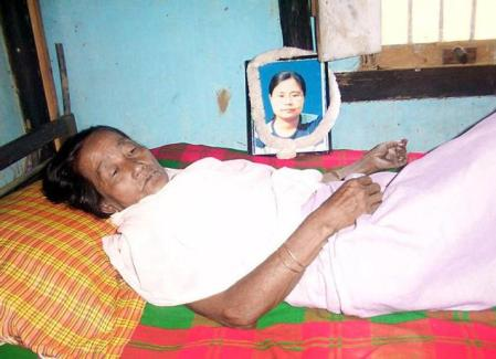 Thangjam Khuman Leima Devi, mother of Thangjam Manorama, at her residence in Imphal in 2004.